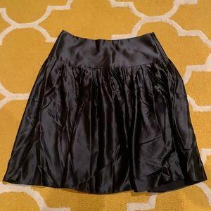 Express black silk mid length skirt